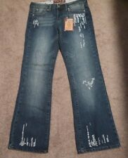 Hint Jeans Distressed Mid-Rise Boot Cut Silver Embellished Juniors Size 9
