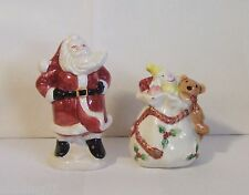 Fitz and Floyd Old World Santa Bag Salt Pepper Shakers Y484 FEW SMALL CHIPS BAG