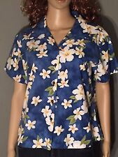 Pacific Legend Womens Blue White Floral Flowers Button-Down Hawaiian Shirt