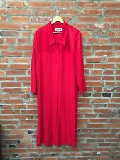 Vintage Duster Maxi Jacket Coat Womens Red Satin Collar Buttons Side Slits (912)