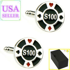 Hot Sale Men Cufflinks Cards Gambling Cuff Links With Gift Box