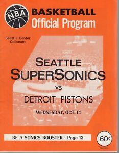 1970 10/14 Basketball Program, Detroit Pistons @ Seattle Supersonics,unscored~Gd