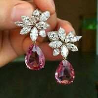 2.50 ct Marquise & Pear Tourmaline Solid 925 Sterling Silver Cluster Earrings