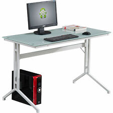 Black Glass Computer Desk for Home Office Compact Stable Piranha Capelin PC 17bg