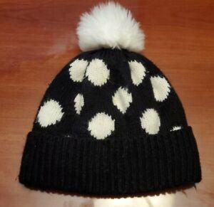 Old Navy Toddler Girls MEDIUM Polka Dot Pom Hat Black /White.