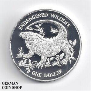 Cayman Islands 1995 One Dollar 1$ Iguana Lizard Silver Pp - Proof Silver Iguana