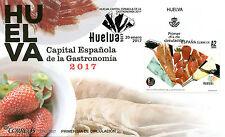 Espagne 2017 fdc huelva capitale de la gastronomie 1v set housse de nourriture cuisine timbres