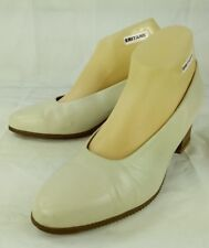 Beautifeel Wos Shoes EU 40 US 9 Off White Leather Latex Slip-On Work Heels 1406