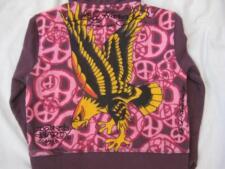 ED HARDY girls size 6 eagle peace sign wolf plum purple hoodie sweatshirt NEW
