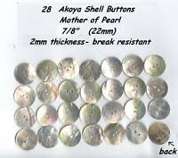 """28 Akoya Shell Mother of Pearl Buttons 7/8"""" 22mm Agoya"""