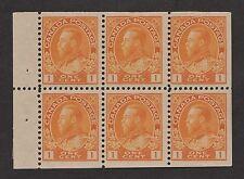 Canada No. 105b, 1c  orange yellow Admiral booklet pane. F-VF. LH - NH.