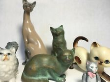 Vintage Lot feline Brass Porcelain Franklin Mint Cat Figurines Kitten Siamese