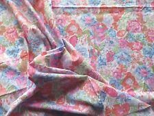 Vintage 70's Cotton Dress Making Fabric Pink Blue Floral Design