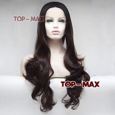 "Dunkel Braun 24"" Cosplay Lace Front Wig Hitzeresistent Damen Gelockt Gothic Haar"