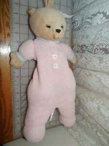 Vintage Preferred Kids Bear Plush Pink Thermal Waffle Pajamas Crib Musical Toy