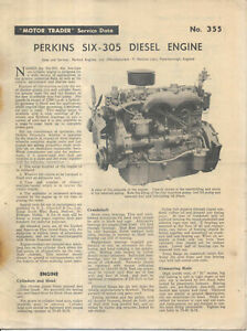 Perkins Six-305 Diesel Engine Motor Trader Service Data No. 355 1960