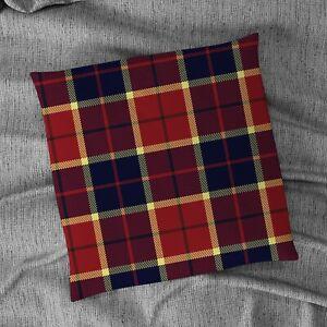 "Red, Blue and Yellow Tartan Print Design 18"" x 18"" Cushion"