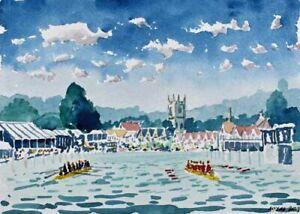 Henley Royal Regatta 5. River Thames Watercolour Artist Doug Myers A5 PRINT 1413