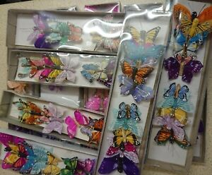 12 Feather butterflies, assorted designs, colours, shapes, sizes, single colours