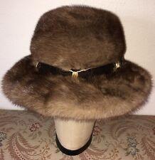 Elegant Vintage Hudsons Bay Company Fur Mink Hat W Velvet & Gold Trim Size 7 / M