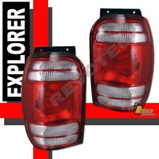 1998-2001 Ford Explorer Mountaineer Red Clear Tail Lights Lamps RH + LH