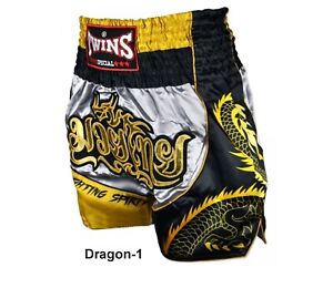 Twins Boxing Shorts TBS Dragon-1 Gray Gold ( M,L,XL,XXL) Muay Thai MMA K1