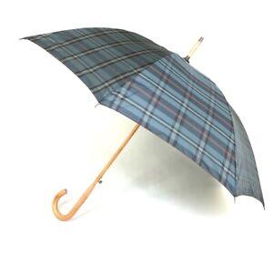 Samsonite Plaid Auto Open One Piece Handle Shaft Stick Umbrella NEW
