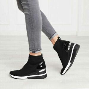 Michael Kors Skyler Wedge Sneakers Slip-on Booties Black  Size 7.0