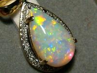 3Ct Pear Cut Fire Opal Diamond Teardrop Pendant 14K Yellow Gold Over Free Chain
