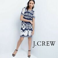 GUC $148 J. Crew Women's  Shift Dress  Lace Navy Blue & White Career Work sz 8