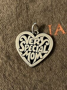 James Avery Very Special Mom Heart Charm Sterling Silver