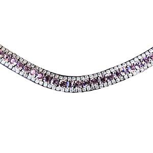 Lavender crystal browband - (black leather)