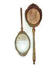 2 Hand Held French Victorian Hand Painted Mirrors