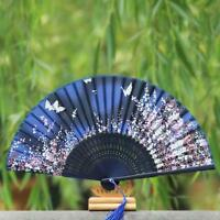 Japanese Silk Cherry Blossom Sakura Folding Hand Held Fan Wedding Dancing Party