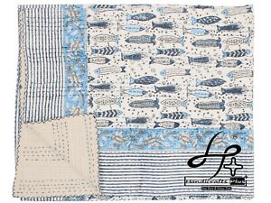 Hand Block Kantha Quilt Indian King Size Fish Printed Bedding Bohemian Bedspread