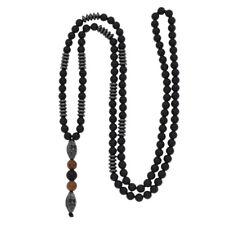 Men Black Hematite Carving Bead Necklace Fashion Jewelry Punk Style Long Chain