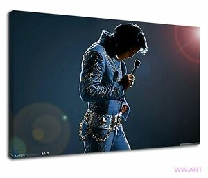 Dashing Elvis Presley In Blue Suit Holding Mic Canvas Wall Art Picture Print