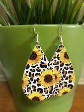 Faux Leather Earrings- Leopard and Sunflower- Tear Drop Design