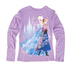Disney Frozen Anna and Elsa Castle Girls Purple T-Shirt