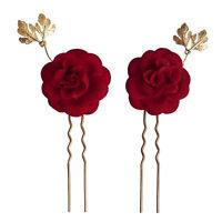 2 épingles pics cheveux chignon mariage mariée fleur camélia velours rouge doré