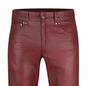 Lederjeans W44 NEU Lederhose 60 WEINROT weiße Ziernähte  leather pants new 44