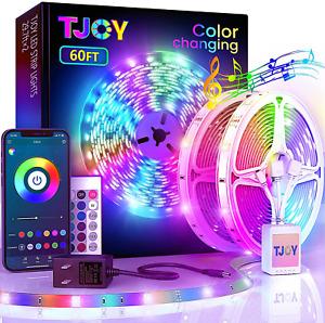 60FtBluetooth Led Strip Lights,Smd 5050 Music Sync LedLights Strip,Rgb Color