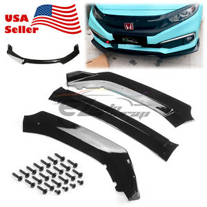 3PCS Gloss Black Front Bumper Cover Lip Body Kit For Honda Civic 2016-2018