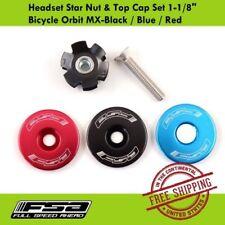 """FSA Orbit MX Bike Headset Star Nut & Top Cap Set (1-1/8"""") - Black / Blue / Red"""