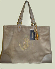 new JUICY COUTURE beige NICCOLA TOTE velour hobo purse handbag + KEY FOB chain