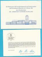 Federal De 1986 Ministerkarte Con Original Firma Y Sobre, MiNr.1292