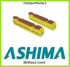 """Coppia Pattini """"ASHIMA"""" compatibili Shimano ruote in Carbonio / Colore - Giallo"""