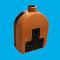 13A Orange High Impact Rubber UK 3 Pin Mains Extension Socket Plug BS1363A 1 Way