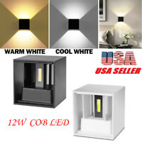 USA 12W Adjustable COB LED Wall Fixtures Light Up Down Cube Sconce Lighting Lamp