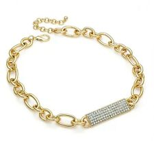 Gold Chunky Crystal Detail Choker Necklace